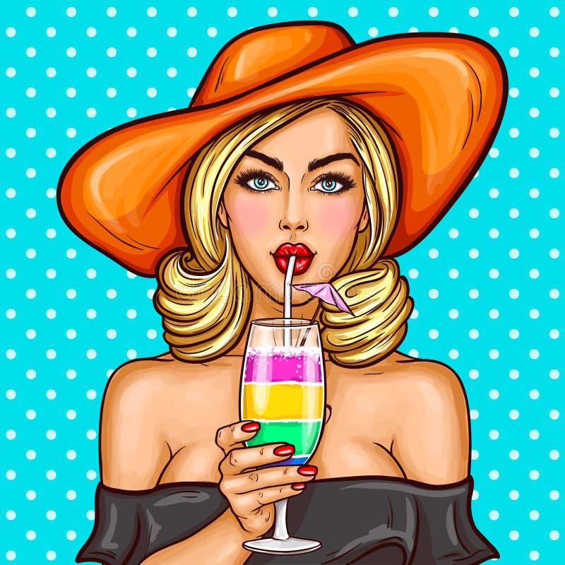 Den sexiga flickan för popkonst i en bredbrättad hatt dricker hennes coctail till och med ett sugrör royaltyfri illustrationer