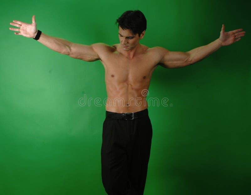 Den sexiga mannen poserar för ett fotografi arkivbilder