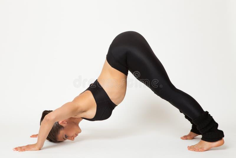 Den sexiga passformbrunettkvinnan i sportar bär i yoga poserar arkivbild