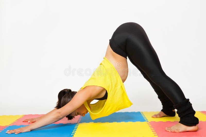 Den sexiga passformbrunettkvinnan i sportar bär i yoga poserar arkivfoto