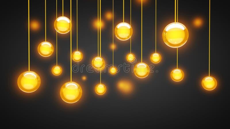 Den sfäriska lysande kulan 3D framför illustrationen fotografering för bildbyråer