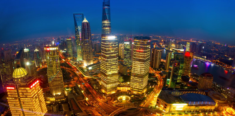 Den Shanghai antennen beskådar arkivbilder