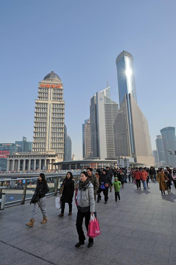 Den Shanghai Lujiazui affären och finansiella centrerar arkivfoto