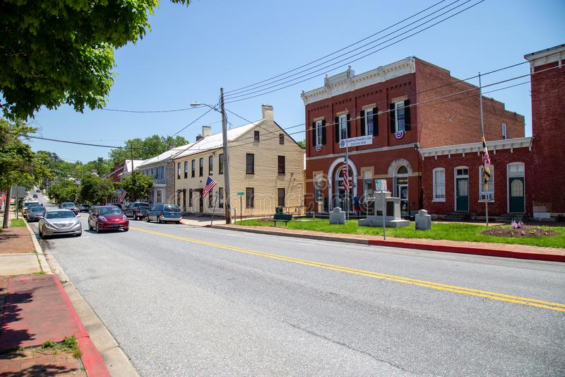 Den Sharpsburg medicine doktorn Main Street royaltyfri fotografi