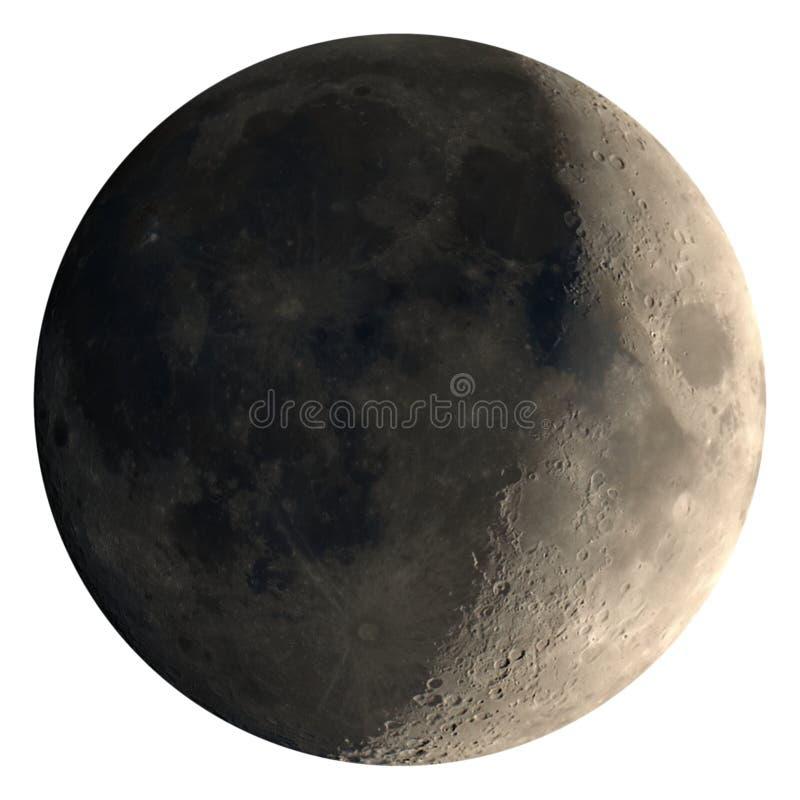 Den sichelförmigen Mond einwachsen gesehen mit dem Teleskop, lokalisiert stockfotografie