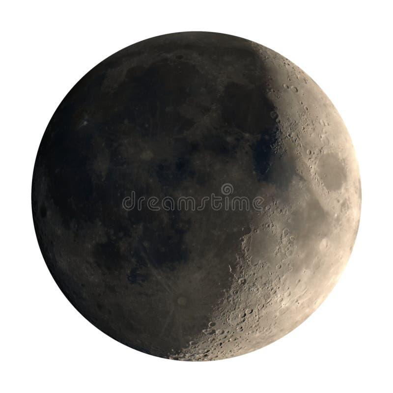 Den sichelförmigen Mond einwachsen gesehen mit dem Teleskop, lokalisiert stockfoto