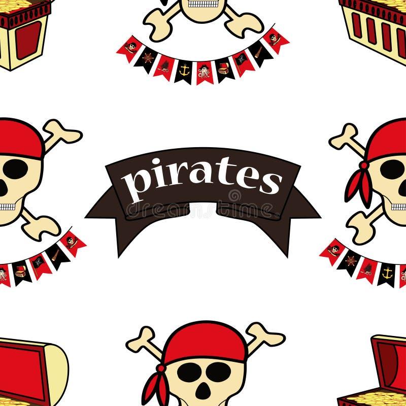 Den Simless modellen piratkopierar themed teckningar vid handen Piratkopiera symbol-sv?rd, skattbr?stkorgen, skallen och korslagd royaltyfri illustrationer