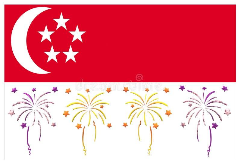 Den Singapore flaggan med dess tema för nationell dag royaltyfri illustrationer