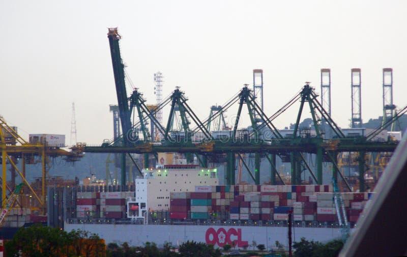Den Singapore skeppporten med lastpäfyllning royaltyfri foto