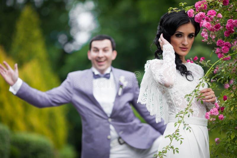Den sinnliga brunettbruden och den roliga stiliga brudgummen parkerar in royaltyfri bild