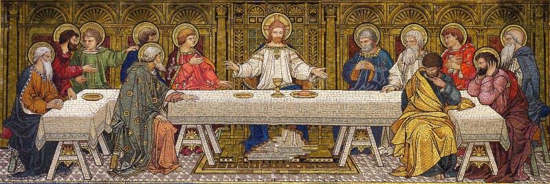 Den sista kvällsmålet (mosaiken) royaltyfria bilder