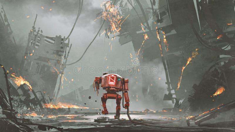 Den sista roboten på jord royaltyfri illustrationer