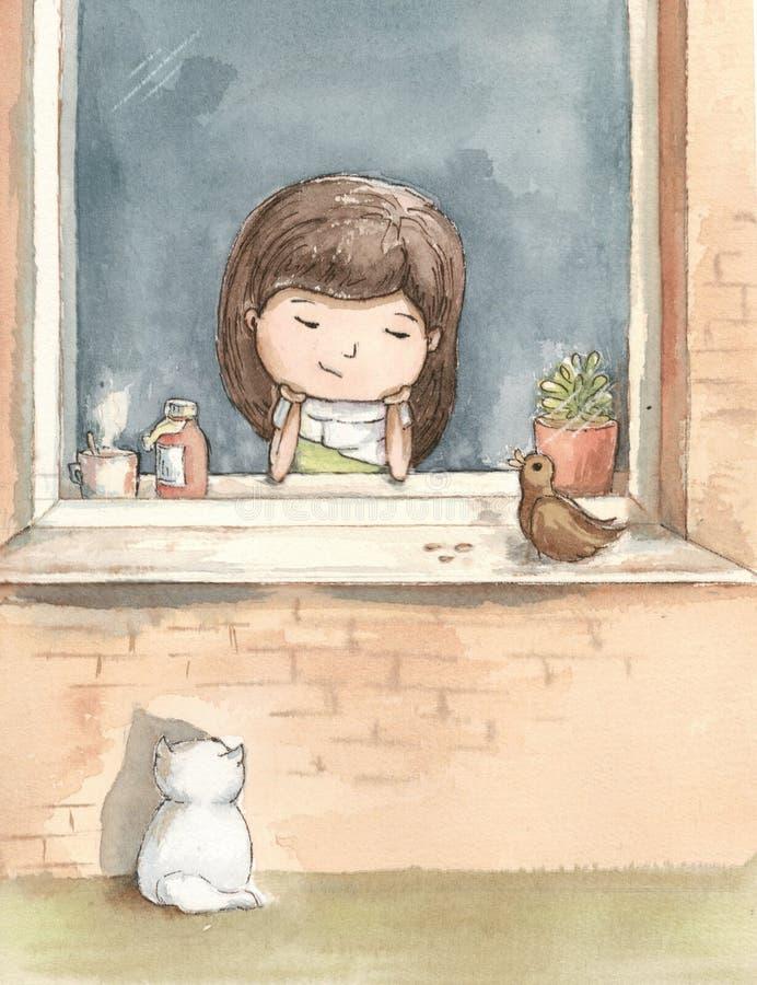 Den sjuka flickan borras av fönstret med en vit katt royaltyfri illustrationer