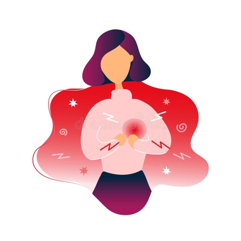 Den sjuka kvinnan med hj?rta sm?rtar vektor illustrationer