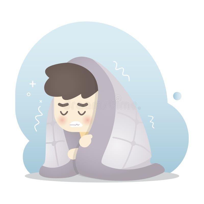 Den sjuka mannen får kall och frossa i en varm filt, vektorillustration royaltyfri illustrationer