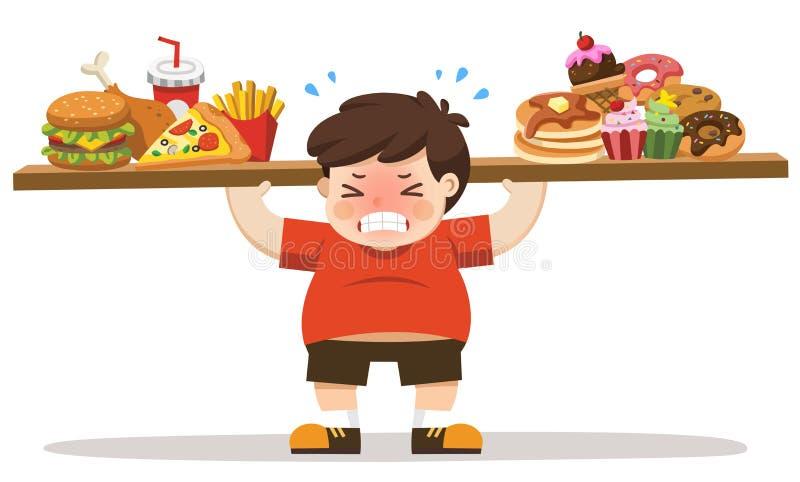 Den sjukliga kroppen för pojke från att äta skräpmat stock illustrationer