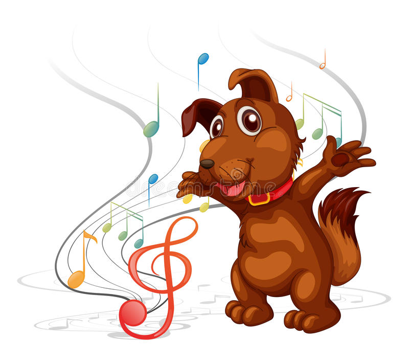 Den sjungande hunden royaltyfri illustrationer