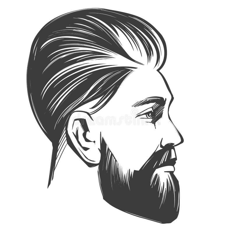 Den skäggiga mannen i profil, frisersalongen, frisyren, frisyr, utdragna den realistiska vektorillustrationen för handen skissar stock illustrationer