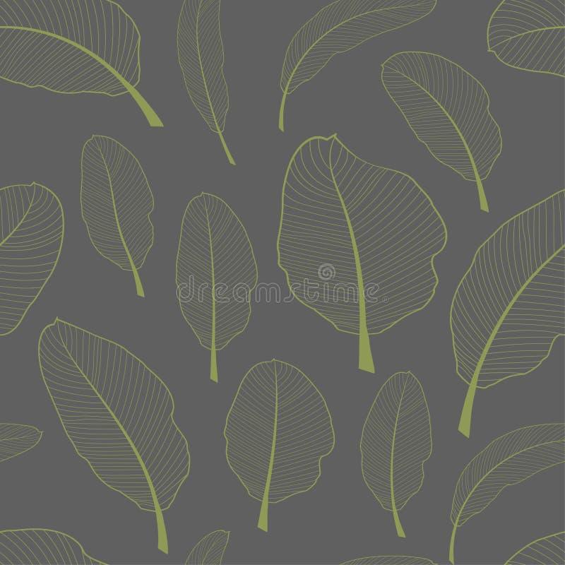 Den skelett- bananen lämnar den sömlösa textilmodellen Genomskinligt ljus - gräsplansidor som isoleras på grå bakgrund vektor vektor illustrationer