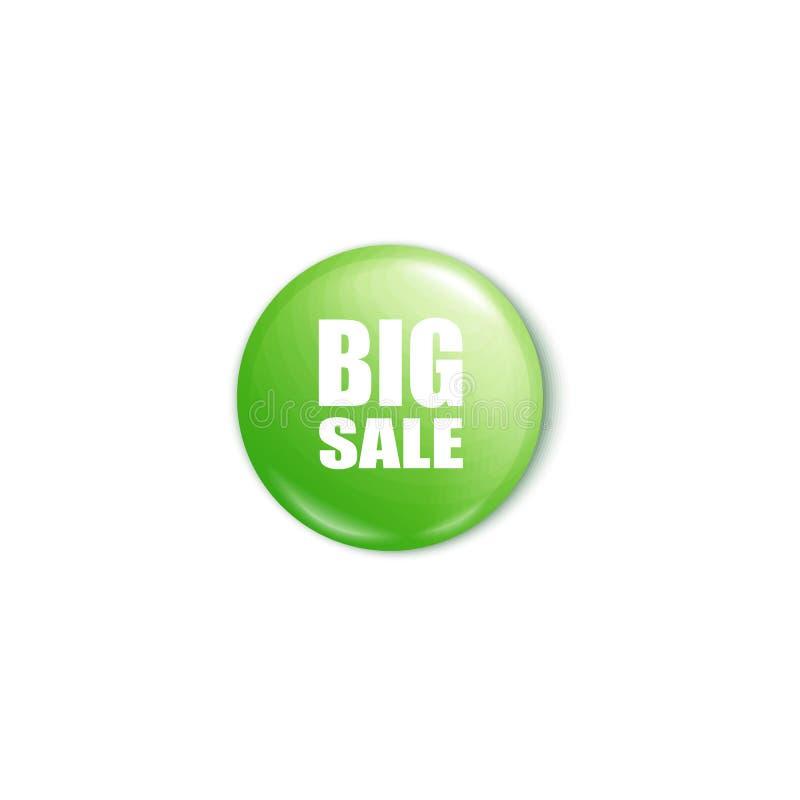 Den skinande gröna stora modellen för illustrationen för vektorn för försäljningsknappen 3d realistiska isolerade stock illustrationer