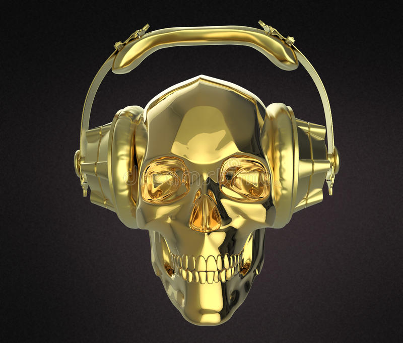 Den skinande guld- mänskliga skallen med studiohörlurar på, framför sidosikt Mall för allhelgonaaftonpartiaffisch Isolerat mörker stock illustrationer