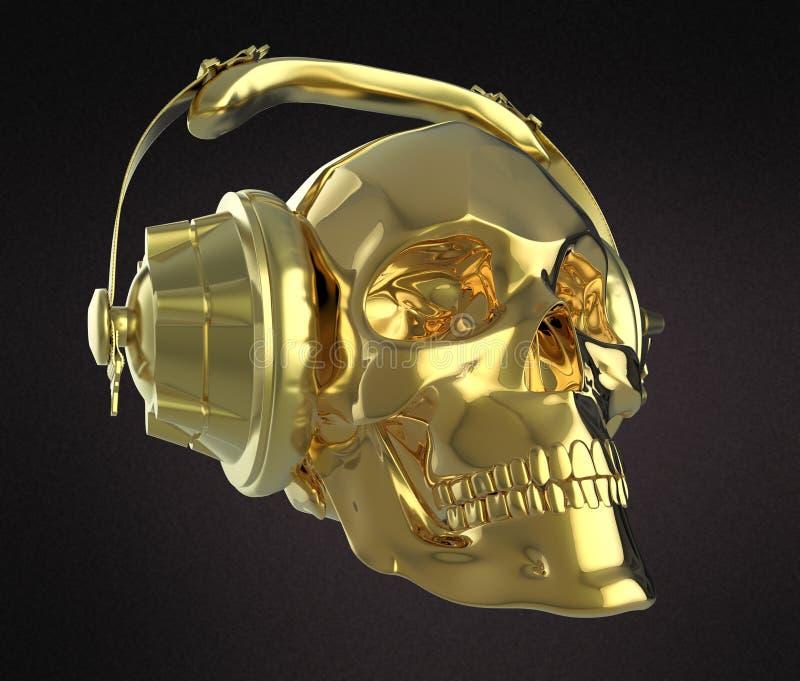 Den skinande guld- mänskliga skallen med studiohörlurar på, framför sidosikt Mall för allhelgonaaftonpartiaffisch Isolerat mörker vektor illustrationer