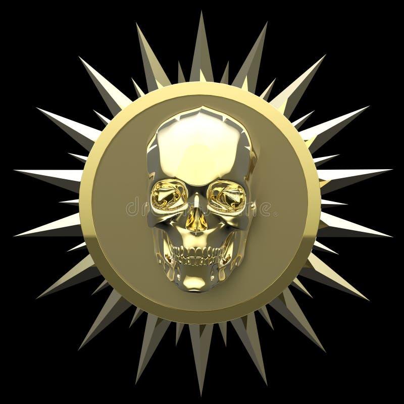 Den skinande guld- metallskallen på den matte guld- plattan med grova spikar omkring, isolerad svart, piratkopierar vapnet framfö arkivbilder