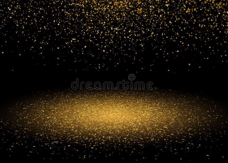 Den skinande stjärnan bristnings somljus med guld blänker, mousserar Lyxig design för glänsande rörelse Magisk guld- ljus effekt  stock illustrationer