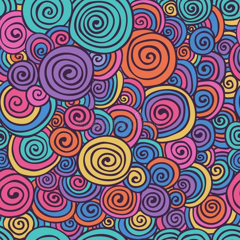 Den skissade abstrakta färgrika handen virvlar runt den sömlösa bakgrundsmodellen royaltyfri illustrationer