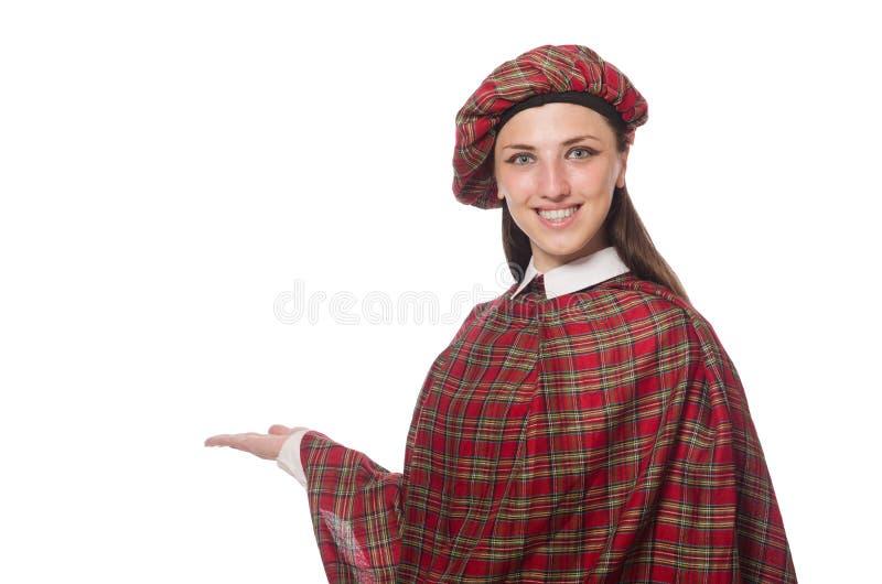 Den skotska kvinnan som isoleras på den vita bakgrunden royaltyfria foton