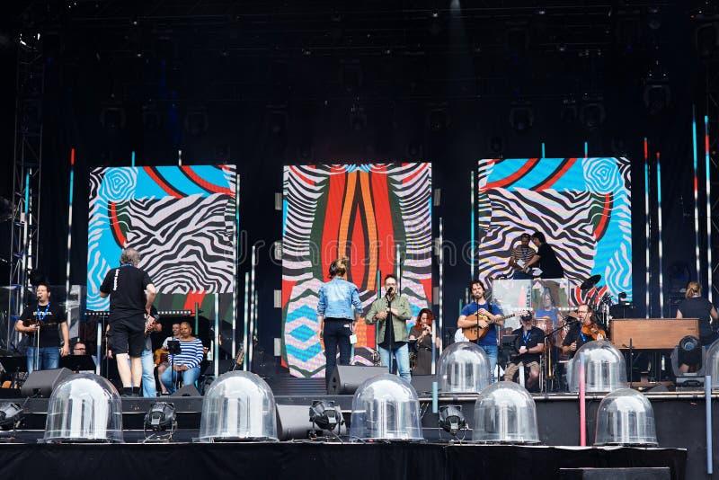 Den skotska musikmusikbandet repeterar på etapp på den Montreal jazzfestivalen i Montreal, Quebec, Kanada fotografering för bildbyråer