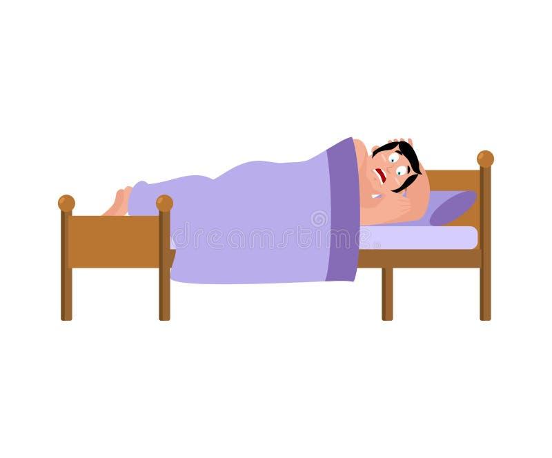 den skrämda mannen sover på säng hade ruskig dröm Vektorillustr stock illustrationer