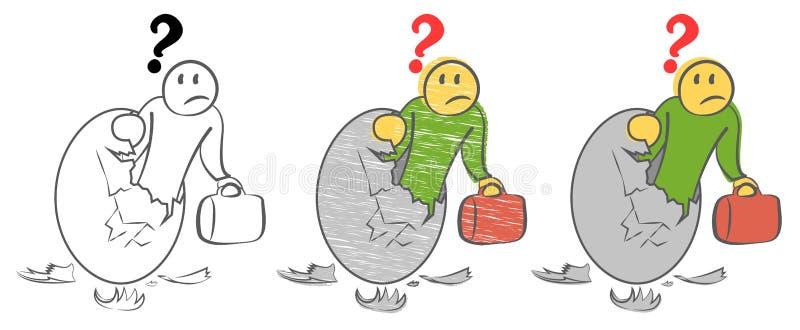 Den skrämda personen ser från inre ett jätte- guld- ägg med en bruten överkant Student som söker efter ett jobb Sammanfogande n?r royaltyfri illustrationer