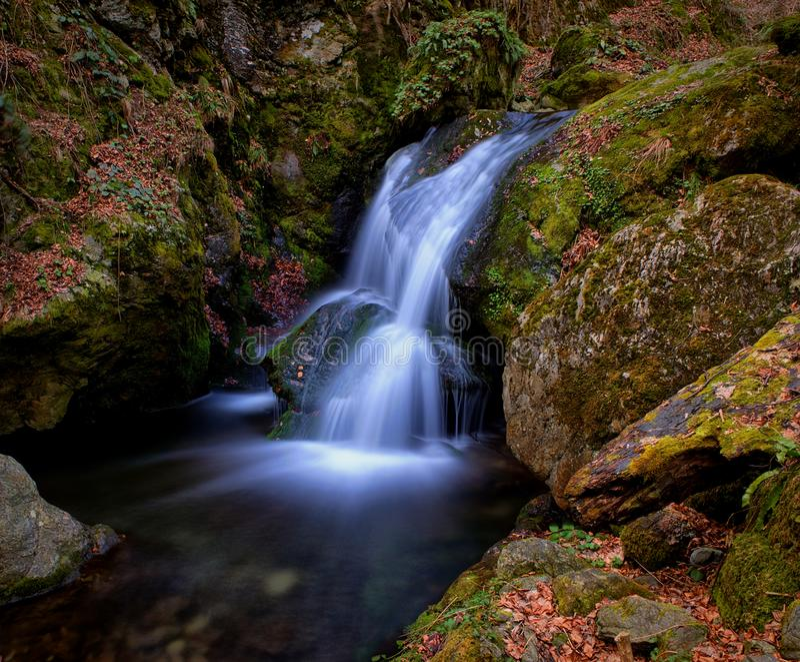 Den släta vattenfallet bland vaggar i höst arkivbilder