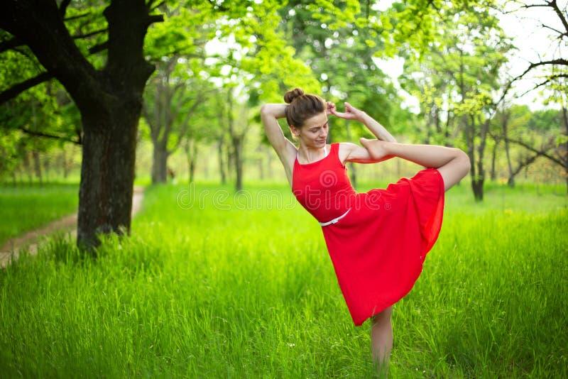 Den slanka härliga brunettflickan i en röd klänning utför yoga poserar i en sommar parkerar Gr?n skog p? solnedg?ngen arkivbild
