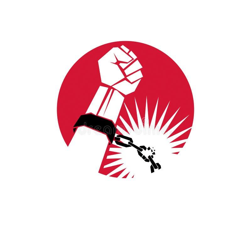 Den slav- röda armen med den grep hårt om näven i bojor bryter kedjan f royaltyfri illustrationer