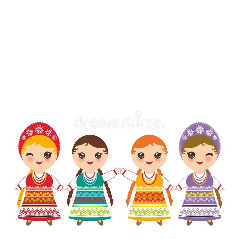 Den slaviska flickan i röda sundress för orange lilagräsplan, den vita skjortan med broderi, hår flätade för det Kawaii för två f vektor illustrationer