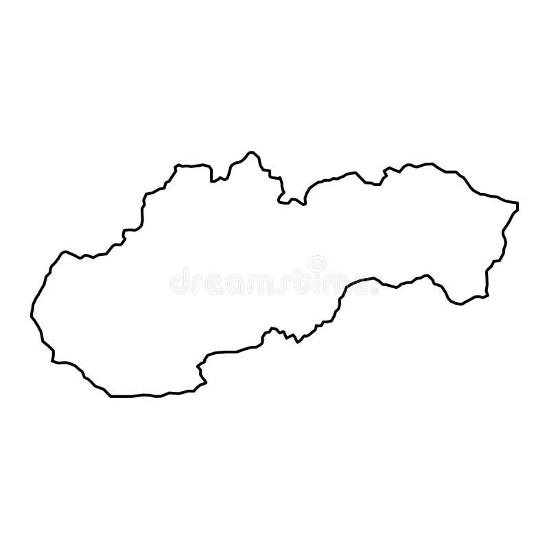 Den Slovakien översikten av den svarta konturen buktar illustrationen royaltyfri illustrationer