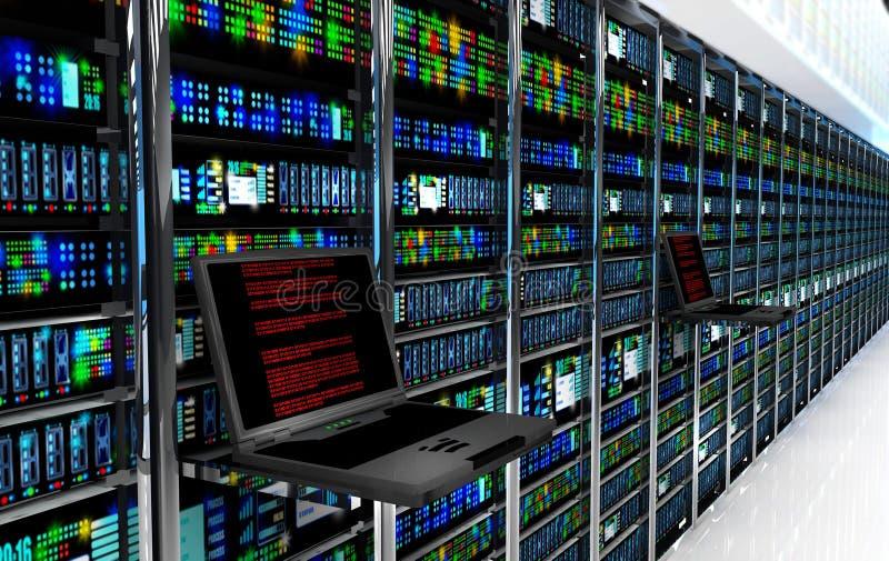 den slutliga bildskärmen i serverrum med serveren racks i datacenterinre royaltyfri illustrationer