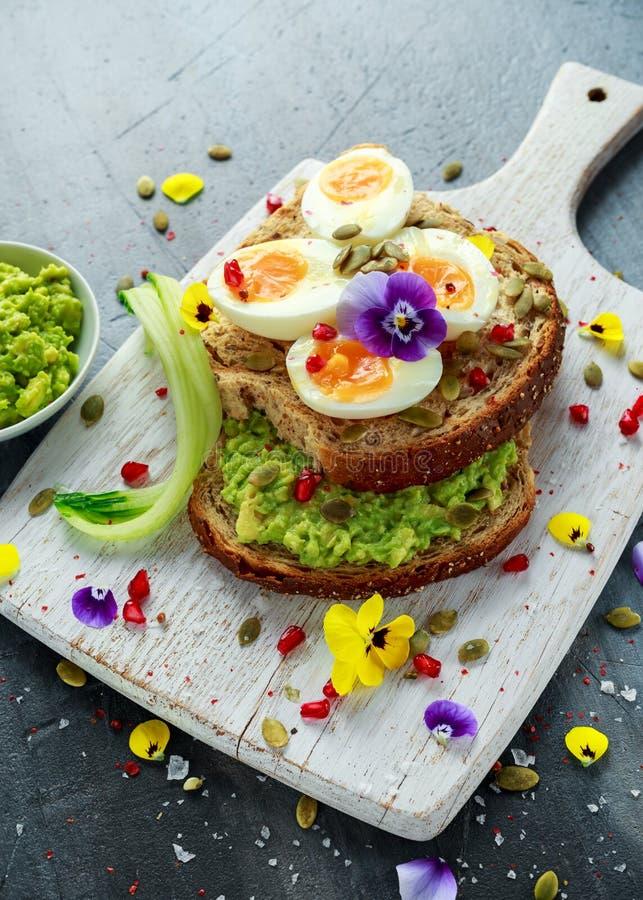 Den smakliga smörgåsen med avokadot kokade ägg, pumpa kärnar ur, och den ätliga altfiolen blommar i ett vitt bräde sund mat royaltyfria foton