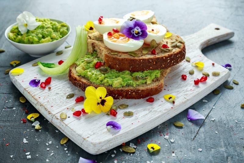 Den smakliga smörgåsen med avokadot kokade ägg, pumpa kärnar ur, och den ätliga altfiolen blommar i ett vitt bräde sund mat royaltyfria bilder