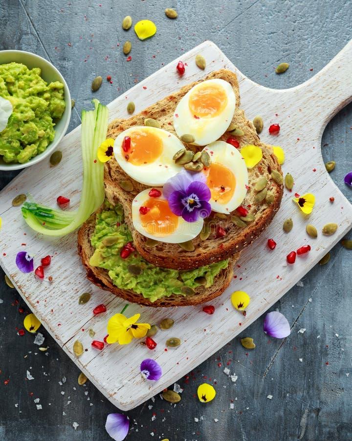 Den smakliga smörgåsen med avokadot kokade ägg, pumpa kärnar ur, och den ätliga altfiolen blommar i ett vitt bräde sund mat royaltyfri foto