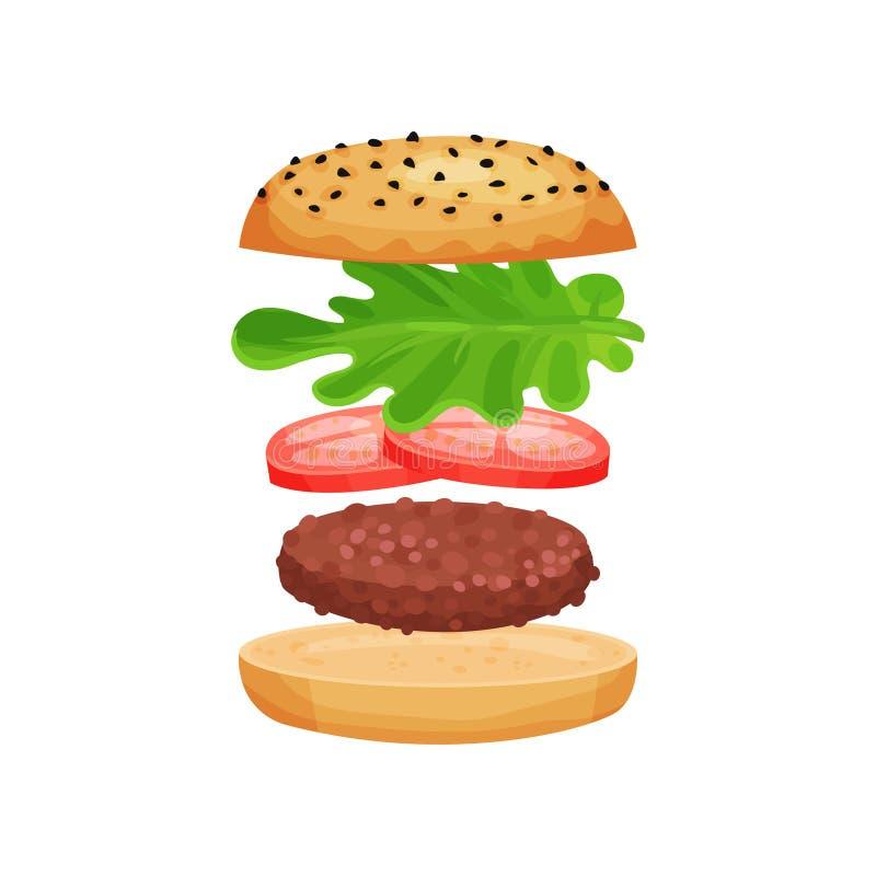 Den smakliga smörgåsen med grillade kotletten för flyget den ingredienser, skivor av tomater och grön grönsallat spricker ut Plan stock illustrationer