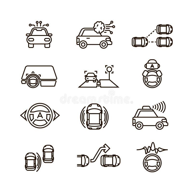 Den smarta bilen och räcker körning fritt av vektorlinjen symboler för det automatiska systemet royaltyfri illustrationer