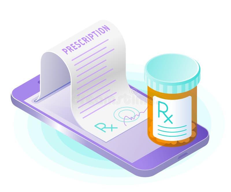 Den smarta telefonen, pappers- recept från skärmen, preventivpillerflaska royaltyfri illustrationer