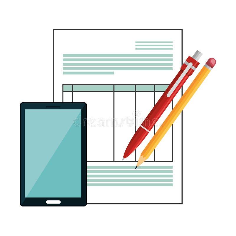 Den Smartphone apparaten med dokument isolerade symbolen stock illustrationer