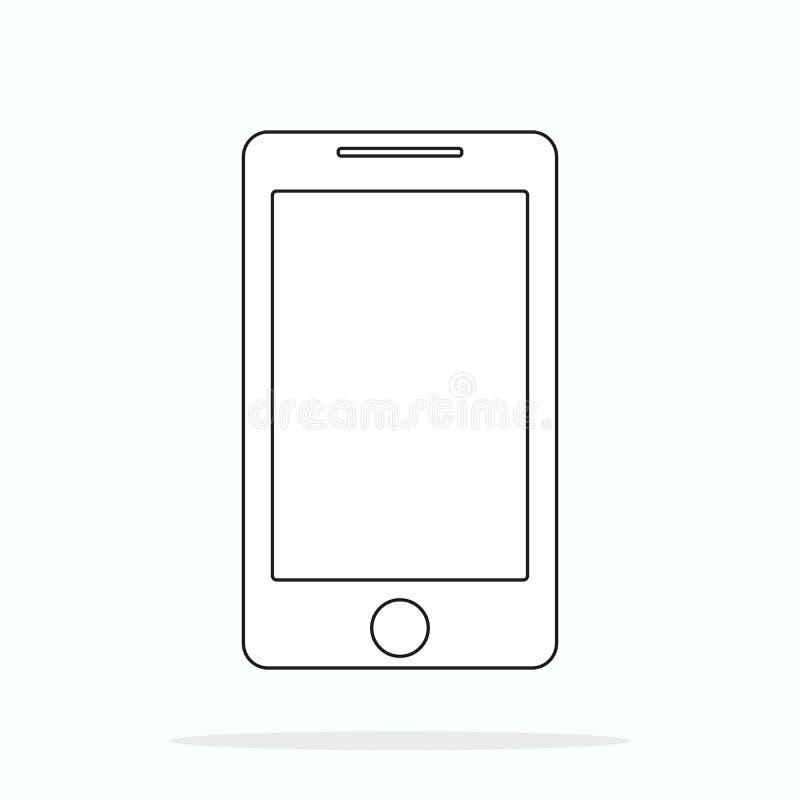Den Smartphone linjen illustration för översiktsstilvektor, den enkla mobiltelefonen skissar linjen konstsymbolen som isoleras på royaltyfri illustrationer