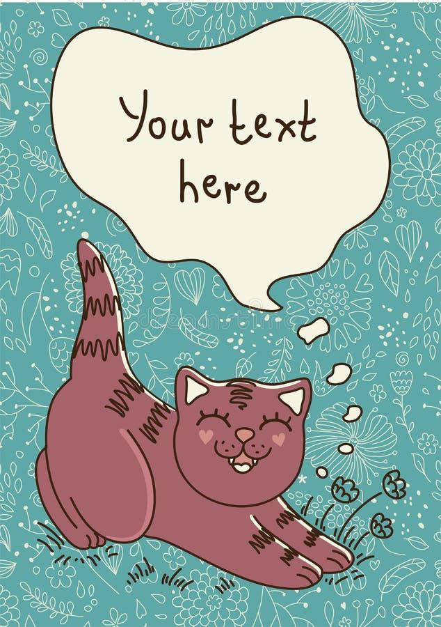 Den smilling katten royaltyfri illustrationer