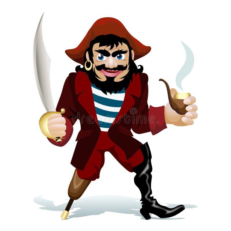 Den smilling piraten vektor illustrationer
