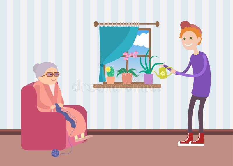 Den snälla pojken hjälper den gamla kvinnan att bevattna blommorna stock illustrationer